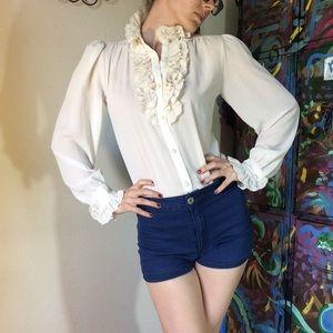 Vintage Ruffle Lace Cravat Country Blouse Top